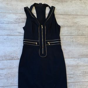 Bebe dress in medium black with gold zippers